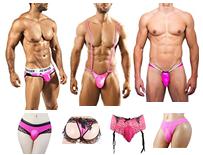 Feminine underwear for men in pink color.