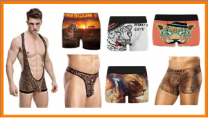 Mens underwear with leopard pattern